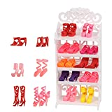 Doll Shoes Rack Shoes Shelf Accessory with 16 Pairs Shoes for Barbie Doll Playset