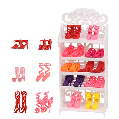 JING SHOW BUSSINESS Doll Shoes Rack Accessory + 16 Pairs Shoes for Doll Playset ()