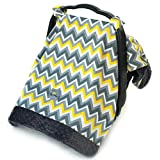 Itzy Ritzy IR-CAN8091 Cozy Happens Infant Car Seat Canopy and Tummy Time Mat, Sunshine Chevron