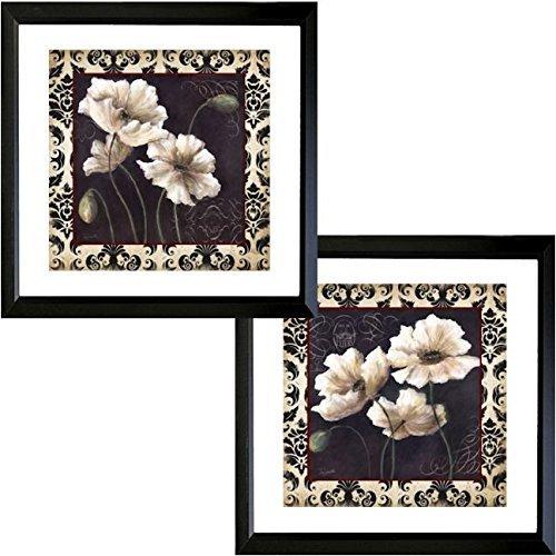 Poppy Framed Print Set - Buyartforless Framed Set Black & White Poppy Damask I & II by TRE Sorelle Studios 16x16 Vintage French Floral Print Poppys