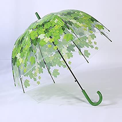 MinegRong Personalidad Creativa Lolita Viento Paraguas Transparente Apollo Paraguas Rosa Mango Largo Paraguas Hoja de Arce