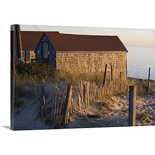 GREATBIGCANVAS Gallery-Wrapped Canvas Entitled Beach Shacks, Cape Cod Bay, MA by 18