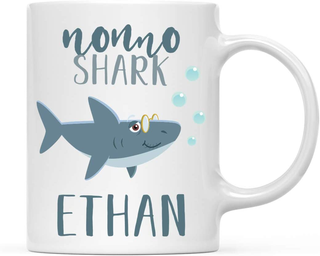 Andaz Press Personalized Name Baby Shark Family 11oz. Coffee Mug Gift, Nonno Shark, 1-Pack, Custom Customizable Shark Do Do Do Gift Idea Birthday Christmas Gifts for Nonno