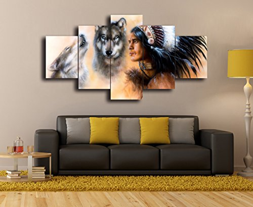 Indian Man In Ethnic Feather With Wolves Blue Eyes Canvas, Native American Home Decor 5 Panel Modern Landscape,Posters and Prints Pictures Mystic Wall Art for Living Room Ready to Hang(50''Wx24''H)