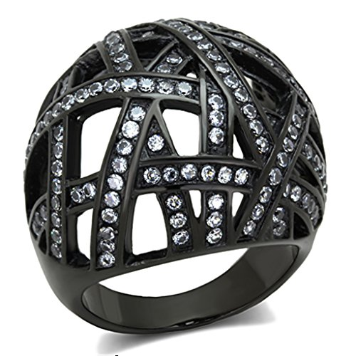 - Women's IP Black Plated Stainless Steel Clear Crystal Dome Cocktail Ring