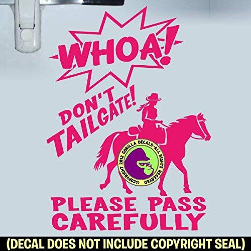WHOA DONT TAILGATE TRAIL RIDER WESTERN On Board Caution Trailer Vinyl Decal Sticker C