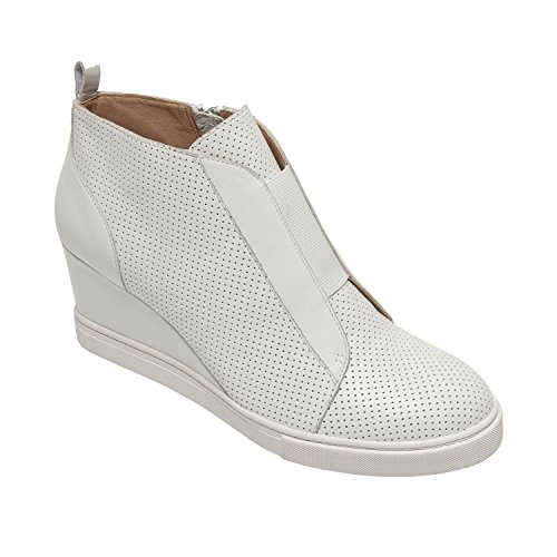Linea Paolo Felicia Women's Sneakers – Comfortable Padded Sneaker Wedge White Perforated Leather 10M