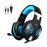 Amazon Lightning Deal 53% claimed: KSCAT KTG1000 PC Gaming Headset 3.5mm Professional Bass Stereo Stylish Breathing LED Light Noise Isolation Over-ear Headphones with Mic for Computer Games