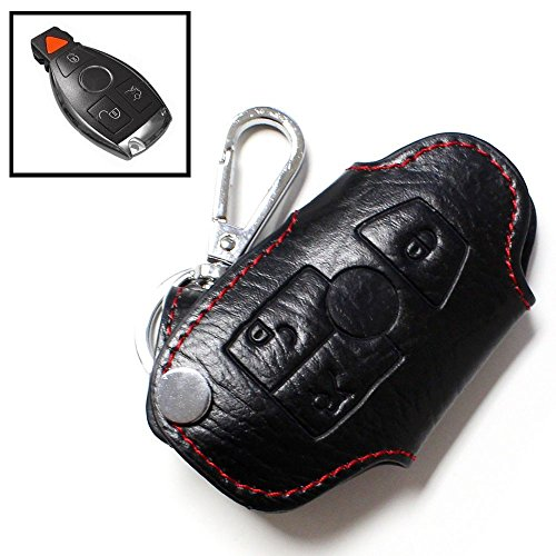 2007 Mercedes Benz Cl (iJDMTOY Genuine Leather Remote Smart Key Fob Case Holder Cover For Mercedes-Benz C E S CLA CLS ML GL GLK CLK SLK Class, etc)