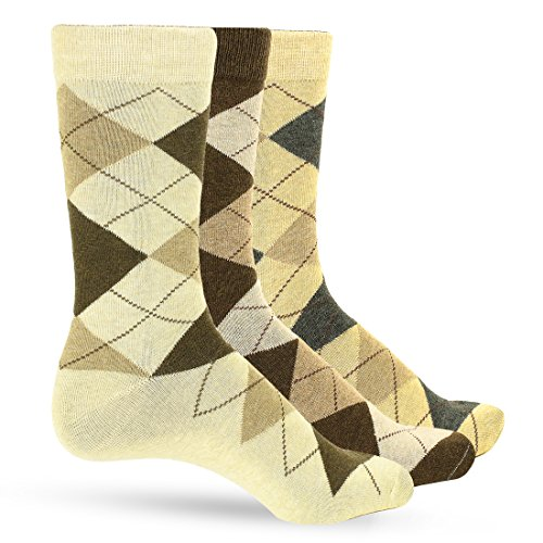 Brown Argyle Socks (3 Pack of Premium Cotton Argyle Mens Dress Socks For Men – Colorful Fashion - Taupe Brown)