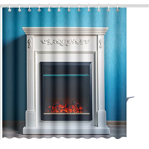 MuaToo Shower Curtain black electric fireplace with decoration photographed in the interior Print Shower Hooks are Included -54'' W x 78'' L by MuaToo
