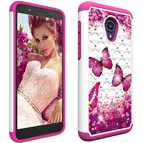 Berry Accessory Alcatel 1X Evolve Case,Alcatel TCL LX Case,Luxury Glitter Sparkle Bling Case,Studded Rhinestone Crystal Hybrid Dual Layer Armor Protection Case for Alcatel 1X Evolve Pink Butterly