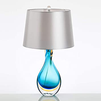 Feceyq Glass Bedside Table And Desk Lamp For Bedroom Modern Table Lamps Green Blue Glass Twist Column Base Empire Shade Amazon Com