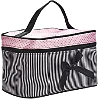 Cosmetic Bag Bowknot Stripe Makeup Square Storage Box Make Up Organiser Container
