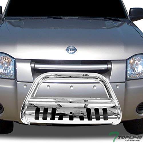 Topline Autopart Polished Stainless Steel Bull Bar Brush Push Front Bumper Grill Grille Guard With Skid Plate For 01-04 Nissan Frontier ; 02-04 Xterra