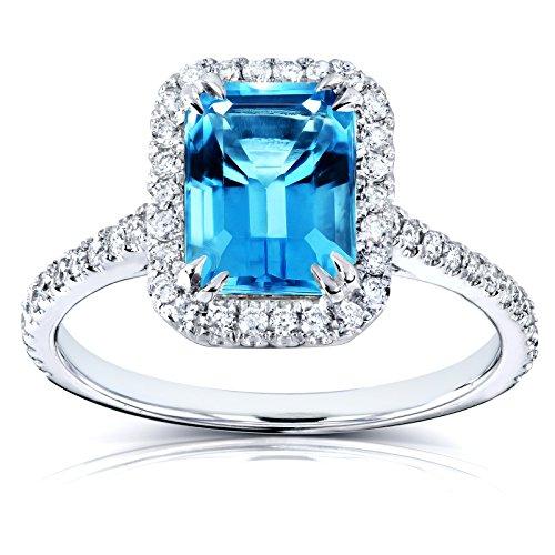 Emerald Cut Swiss Blue Topaz and Diamond Halo Ring 1 3/4ct CTW 14k White Gold, 10.5 ()