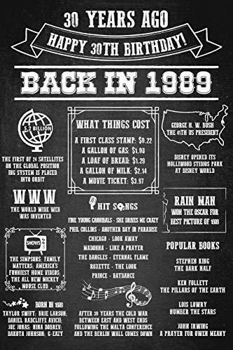 speedy orders 30th Birthday Sign, 30th Birthday Party Poster Chalkboard Sign, 1989 Birthday Sign, Black and White, Birthday Party Decorations, 30th Birthday Banner, Happy Birthday Poster, Size -24x36]()