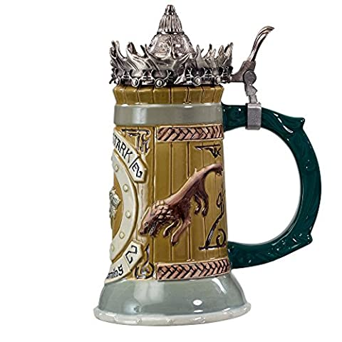 Game of Thrones House Stark Stein – 22 Oz Ceramic Base with Pewter Baratheon Crown Top (Оne Расk)