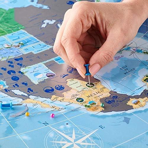 América del Norte Scratch Off Mapa luminoso en la oscuridad con retos, Gran Los Estados, EE. UU. Mapa, banderas y más de 100 mejores lugares y parques nacionales a visita. rastreador pasador