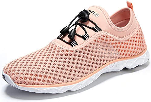 Zhuanglin Women's Quick Drying Aqua Water Shoes,Pinkorange,8.5 B(M) US