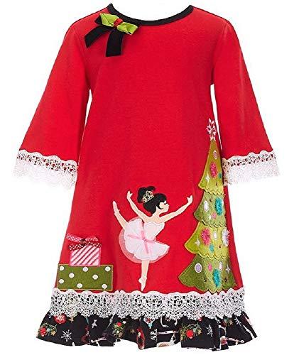 Bonnie Jean Girls Red Holiday Size 2T-6X Nutcracker Ballet Dress (4T)