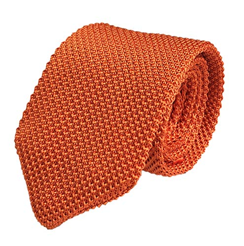 (Secdtie Men Boys Woven Silk Solid Orange Summer Skinny Tie Slim Plain Necktie 027)