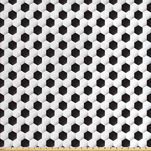 Lunarable Sports Fabric by The Yard, Soccer Ball Vivid Pattern Athletic Sport Themed Geometrical Modern Artistic Design, Decorative Fabric for Upholstery and Home Accents, 2 Yards, Grey White