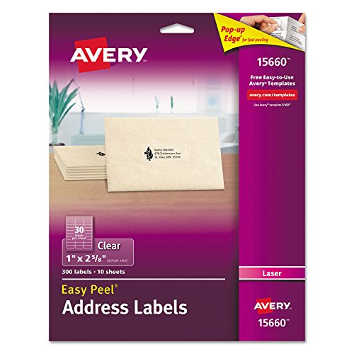 Avery 15660 Matte Clear Easy Peel Address Labels, Laser, 1 x 2 5/8, 300/Pack Avery Dennison Peel
