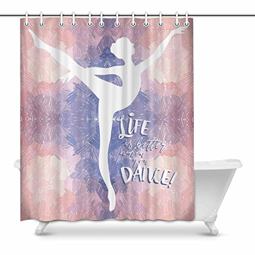 InterestPrint Life Is Better When You Dance Bathroom Shower Curtain Accessories, 60W X 72L Inches by InterestPrint