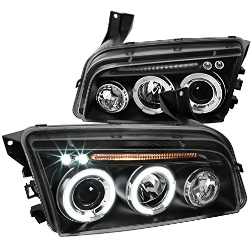 Charger Dodge Halo Headlights - Spec-D Tuning LHP-CHG05JM-TM Black Projector Headlight (Halo Led)