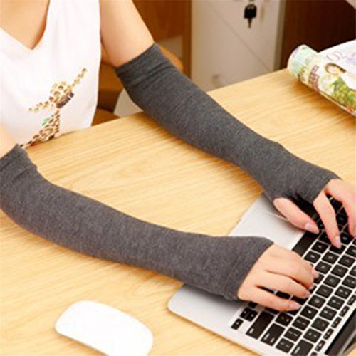 Large Product Image of FULLIN Warm Gloves Women Fingerless Arm Warmers Gloves Knit Thumb Hole Gloves inter Warmer Cotton Long Arm Sleeve,Dark gray