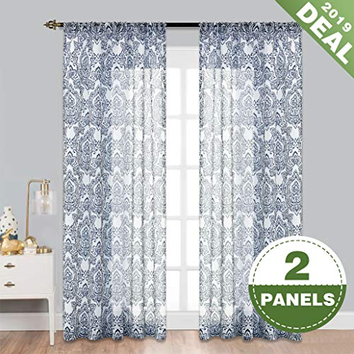 ECODECOR Damask Blue Sheer Curtains 84 Inch Long White Printed Window Curtain Panels for Bedroom with Vintage Floral Pattern Toile Rod Pocket Draperies 2 Pcs