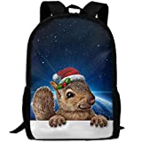YIXKC Backpack for Adults Squirrel Wearing A Christmas Hat Unique