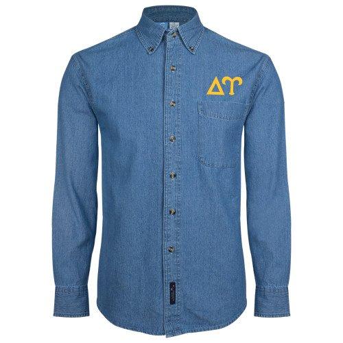 CollegeFanGear Delta Upsilon Denim Shirt Long Sleeve Greek Letters