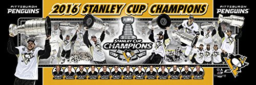 (NHL Hockey Pittsburgh Penguins 2016 Stanley Cup Champions - 12x36 Panoramic Photo. Frame Dimensions 13.5 x39 Deluxe Double Matted with Black Metal Frame #4006)