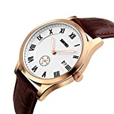 Mens Unique Quartz Watch Roman Numeral Casual Analog Luminous Hands Wrist Watch with Alone Second Dial Waterproof Brown Leather Strap Watches