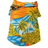 Tangpan Hawaiian Beach Coconut Tree Print Dog Shirt Summer Camp Shirt Clothes(Yellow - L)