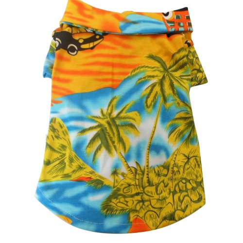 Tangpan Hawaiian Beach Coconut Tree Print Dog Shirt Summer Camp Shirt Clothes (Yellow,S)