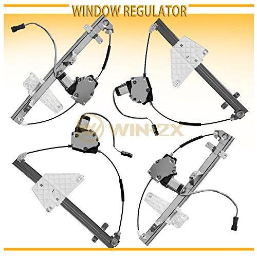 WIN-2X New 4pcs Complete Front+Rear Left+Right Side Power Window Regulators & Motors Assemblies Fit 01-04 Jeep Grand Cherokee ()