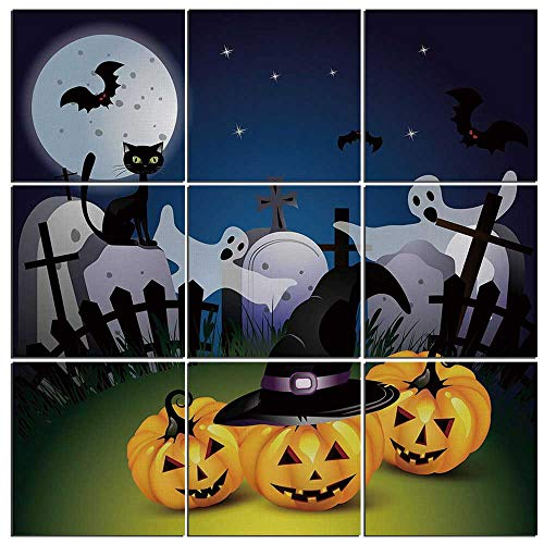 Canvas Wall Art Halloween 9 Pieces Canvas,Funny Cartoon Design with Pumpkins Witches Hat Ghosts Graveyard Full Moon Cat Decorative Giclee Prints for Home Decoration,48