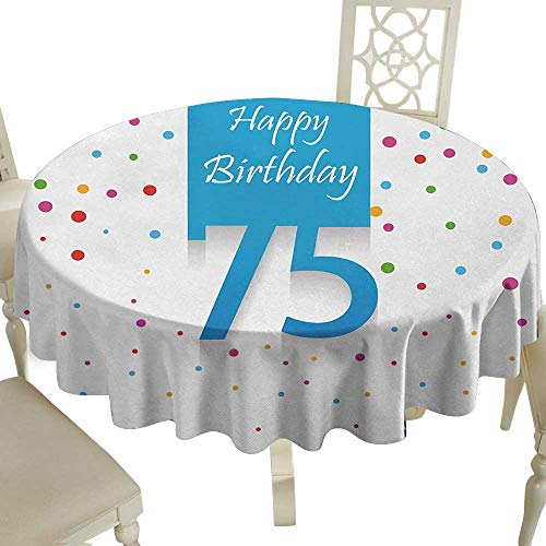 Round Outdoor Round Tablecloth 50 Inch 75th Birthday,Colorful Confetti Rain with Polka Dots Hand Written Celebration Party Theme,Multicolor for Home,Party,Wedding & More ()