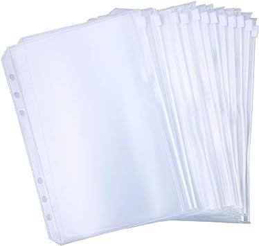 A6 Carpeta Anillas Carpetas de Documentos Impermeables Bolsas de Archivo de Carpeta con Cremallera Transparente 12 Piezas con Carcasa de Carpeta 1 Piezas