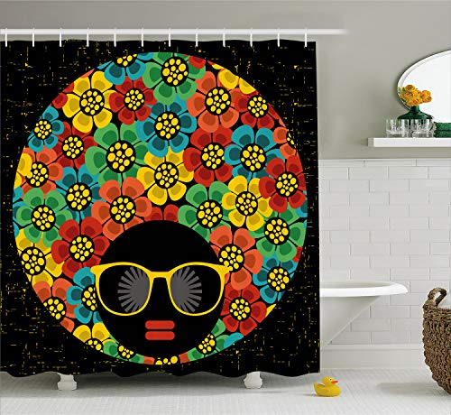 Ambesonne 70s Party Decorations Shower Curtain, Abstract Woman Portrait Hair Style with Colorful Flowers Sunglasses Lips Graphic, Fabric Bathroom Decor Set with Hooks, 70 Inches, Ruby Orange -