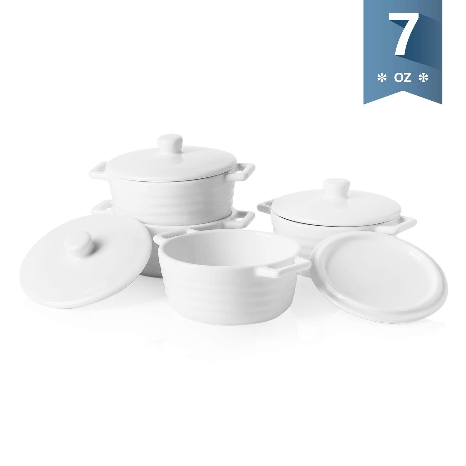 Sweese 510.101 Porcelain Ramekins, 7 Ounce Round Mini Casserole Dish with Lid, Set of 4, White by Sweese