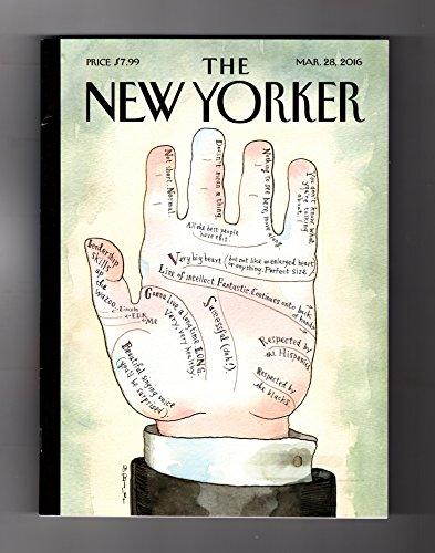 - New Yorker - March 28, 2016. Schizophrenia, Genes, Identity; Supreme Court Nom.; Upstate Seed Library; Ian McEwan; Susanna Wolff; David Sedaris; Tunisia Arab Spring; Es Devlin; Trump's Pals