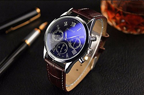 YAZOLE Wrristwatch Wrist Watch Men 2016 Top Brand Luxury Famous Male Clock Quartz Watch Man Hodinky Relogio Masculino Ceasuri.Blrown Leather. - Casio Watch Canvas