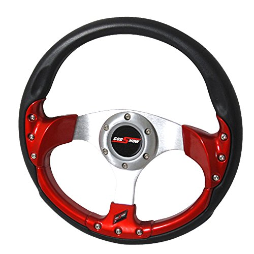 F1 Car Steering Wheel (Rxmotor 320MM 6 Bolts JDM Horn Button Steering Wheel Universal Fit Not Include Hub Adapter (RED))