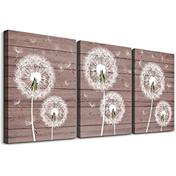 Dandelion Wood grain Watercolor painting Canvas Wall Art for bedroom living room Wall Decor for kitchen bathroom Decorations flowers Canvas Prints Pictures Home Decoration Office Poster Artwork Works
