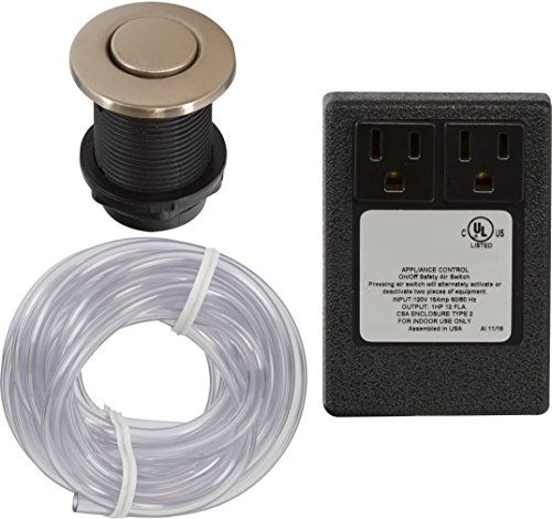 - Dual Disposal Air Switch Kit with Round Button for InSinkErator / Waste King Garbage Disposals/ Jetted Tubs- PVD Satin (brushed) Bronze