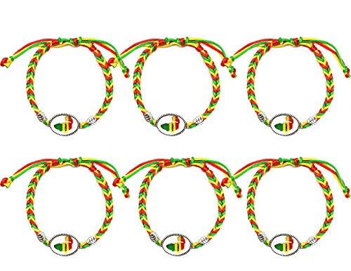 Fair Deal America 6 PCS Handmade Woven Bracelets Africa Country Flag Friendship Thread Bracelets (B2464)